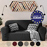 <span class='highlight'><span class='highlight'>Dreamzie</span></span> Stretchy Sofa Cover 2 seater Grey - Certified Chemical-Free, Recycled Cotton Sofa Cover - Protects Sofas from Stains - Elasticated Sofa Cover Made in Europe
