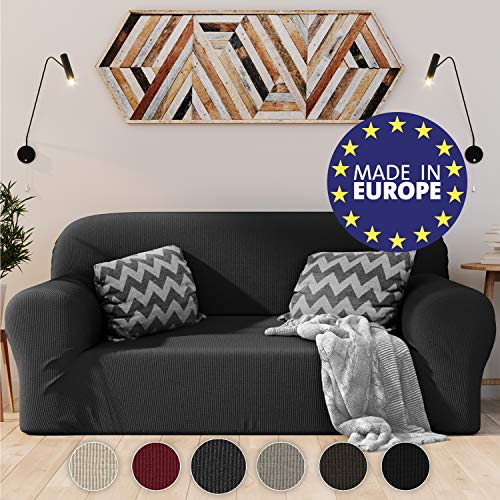 Dreamzie Dehnbarer Sofaüberwurf 2-Sitzer Grau - Zertifiziert Chemikalienfrei, Sofahusse aus recycelter Baumwolle - Schützt Sofas vor Flecken - Elastischer Sofabezug In Europa Hergestellt