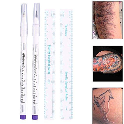 Marqueur De Peau Chirurgical, 2Pcs / Set Chirurgical Tatouage Piercing Marqueur De Peau Positionnant Stylo Art Du Corps Avec Les Dirigeants pour Tatouage(#1)