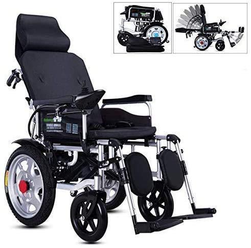 WXDP Selbstfahrender Rollstuhl,Zusammenklappbarer elektrischer, vollständig liegender Verstellbarer Rücken (90 ° C bis 180 °) Ältere automatische Allrad-Sc