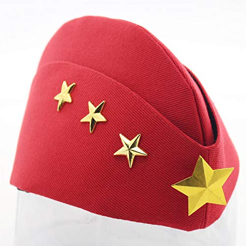 FHHYY Gorra Militar Sombrero Lateral de Mujer Lona Plegable Estrella Pilotka Garrison Army Caps Cosplay Hat Vintage Cap Snapback Military Navy Flat Cap Cotton,1