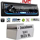 Autoradio Radio JVC KD-X151 | MP3 | USB | Android 4x50Watt - Einbauzubehör - Einbauset für Seat Ibiza 6L - JUST SOUND best choice for caraudio