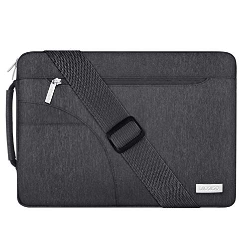 MOSISO Laptop Shoulder Bag Compatible with 2019 MacBook Pro 16 inch, 15 15.4 15.6 inch Dell Lenovo HP Asus Acer Samsung Sony Chromebook, Polyester Briefcase Sleeve with Side Handle, Space Gray