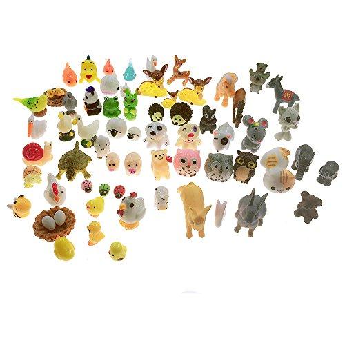 SIX VANKA Miniature Animals 65pcs Mini Resin Decoration Set for Childrens Birthday Party Kids Presents Doll House Pretend Play Toys DIY Garden Flowerpot Succulent Planter