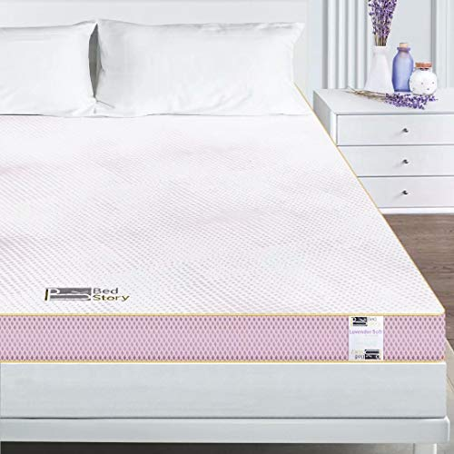 Bedstory Mattress Topper King, 4 Inch Memory Foam Mattress Topper with Dual Sides(Soft and Firm Sides), Lavender Bed Topper Gel Infused with Removeable Breathable Cover