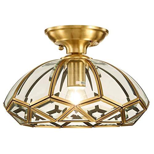 WEM Lámpara de techo industrial vintage de cobre H65, E26, montaje semi empotrado, antiguo cerca del techo, vidrio transparente, acabado en bronce, lámpara de techo rústica para bar, comedor, pasillo