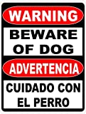 Warning Bilingual Beware of Dog Sign. English & Spanish Safety Signs. Free Shipping. 9x12 Metal. Made in the U.S.A.