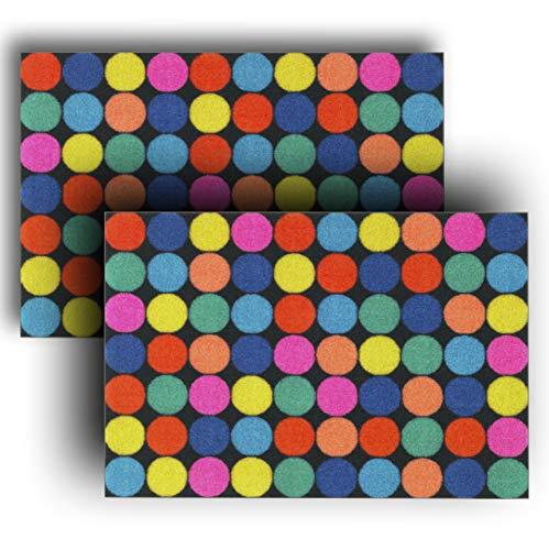 Juego de 2 felpudos de 40 x 60 cm, multicolor con estampado geométrico de poliéster y goma antideslizante, felpudo, felpudo para puerta, felpudo para puerta de Ikea Rorslev