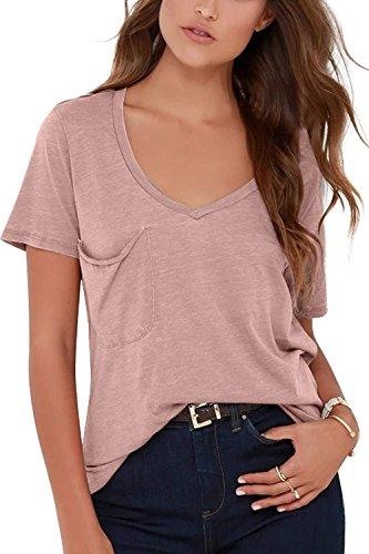 Minetom Mujer Cuello en V Manga Corto Camisa Básica Moda Blusas Túnica Casual Color Sólido T-Shirt Camisetas Verano Suelto Confort Tops Rosa ES 36