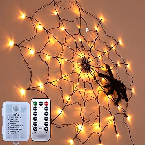 Enchufe de decoración de luces web de araña de Halloween, ilumina la tela de araña negra 70 DIRIGIÓ Luces de color naranja impermeable para la barra de la fiesta de la casa de la casa de la casa de la
