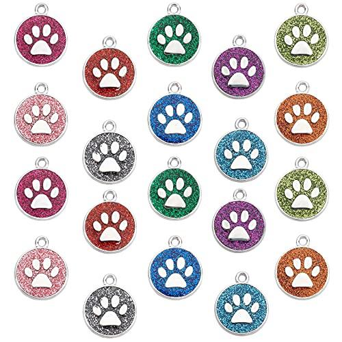 SUNNYCLUE 1 Boîte 20Pcs Chien Chat Paw Print Charms Chiot Empreinte Animale Alliage Pendentifs Plat...