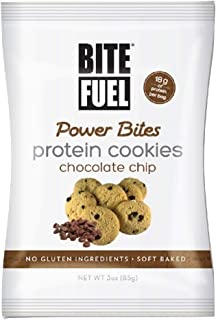 BITE FUEL Power Bites High Protein Cookies, Non GMO, Gluten Free Low Carb - Chocolate Chip Cookies, 3 Oz (Pack of 8)