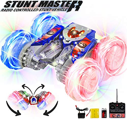 Haktoys RC Rechargeable Stunt Master, Extreme 360° Acrobatic, Tumbling & Spinning Action | Radio Remote Control Car with LED Lights | Ready To Play, All Batteries Included | Random Colors: Blue or Red