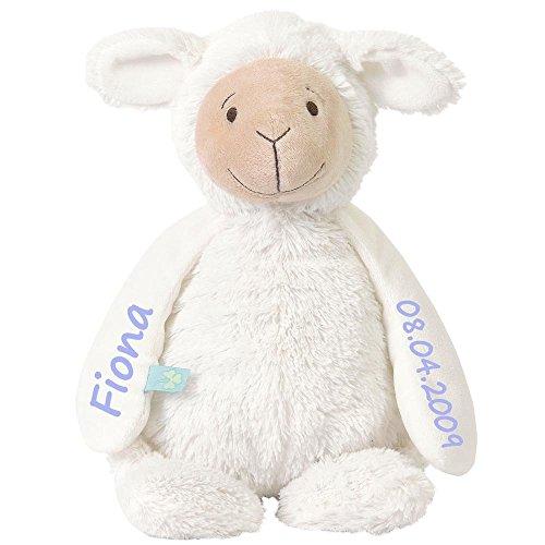Elefantasie Stofftier Schaf mit Namen und Geburtsdatum personalisiert Geschenk 20cm weiß Aufdruck hellblau