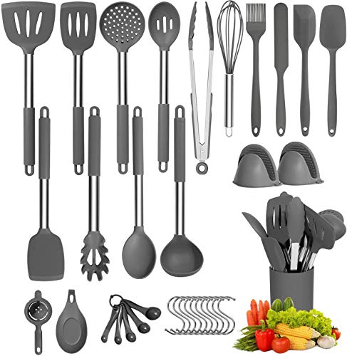 34 PCS Silicone Cooking Utensil Set, DAVAD Upgrade Kitchen Utensils Set with Holder, 608F Heat Resistant Non-stick BPA Free Nontoxic Kitchen Cookware with Stainless Steel Handle, Kitchen Tools Set