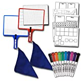 Home School Kit (2) KleenSlate 2-Sided Customizable Whiteboard with Clear Dry Erase Sleeve and 2 KleenSlate Dry Erase Markers & (1) Pack of 10 Assorted Color Markers & (1) Pack of Templates