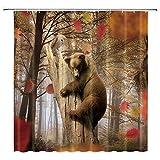 JOOCAR Design Duschvorhang, brauner Bär, laubabwerfender Ahorn, weiße Eule, Herbst-Design, wasserdichter Stoff, Badezimmer-Dekor-Set mit Haken