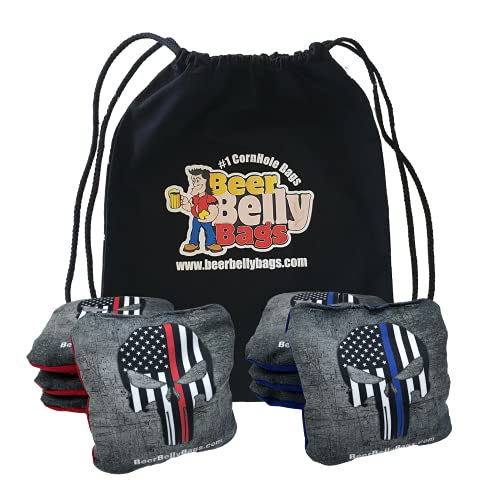 Beer Belly Bags Pro Style Performance Cornhole Bags Tournament Regulation Resin Fill 16 Ounce - Set of 8 Includes Carrying Tote Made in USA (Red/Blue Skull)