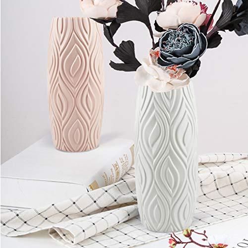 123 Life Jarrones de plástico para flores, florero moderno duradero para sala de estar, oficina, boda, centro de mesa o regalo (blanco)