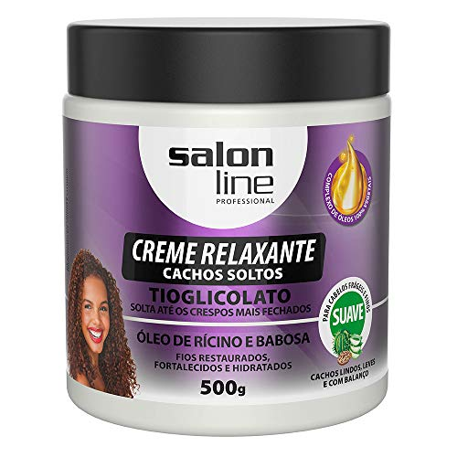 Salon Line - Linha Transformacao (Tioglicolato de Amonia) - Creme Relaxante Cachos Soltos 500 Gr - (Transformation (Ammonium Thioglycolate) Collection - Loose Curls Relaxing Cream Net 17.63 Oz)