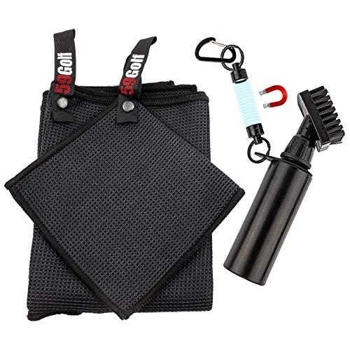 59Golf Reinigungsset: Schäumende Golfschläger Bürste mit Wasserreservoir + Golfschläger Handtuch + Golfball Handtuch + Magnetclip (Schwarze Handtücher)