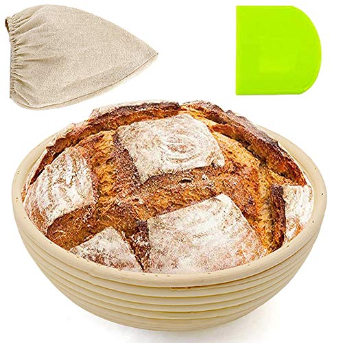 8 Inch Round Bread Banneton Proofing Basket for Sourdough, Rising Dough Shaping Baking Bowl Set, Gifts for Artisan Bread Making Starter, Includes Linen Liner, Plastic Dough Scraper