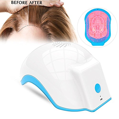Hair Growth Helmet, 100-240v Hair Loss Regrowth Alopecia Cap Helmet Massage Equipment(White)
