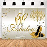 MEHOFOND Happy 50th Birthday Party for Women Decoration Backdrop Gold High Heels and Champagne Fabulous 50th Birthday Photography Background Studio Props Banner Vinyl 7x5ft
