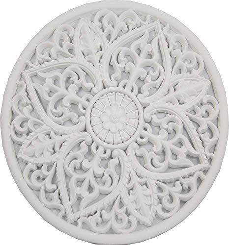 Mandala redondo madera tallado 65 cm (Blanco)