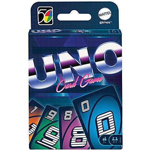 Mattel Games'- UNO Versione Iconica 1970, Gioco di Carte con Design a Tema Anni '80, da Collezione, Giocattolo per Bambini 7+ Anni,...