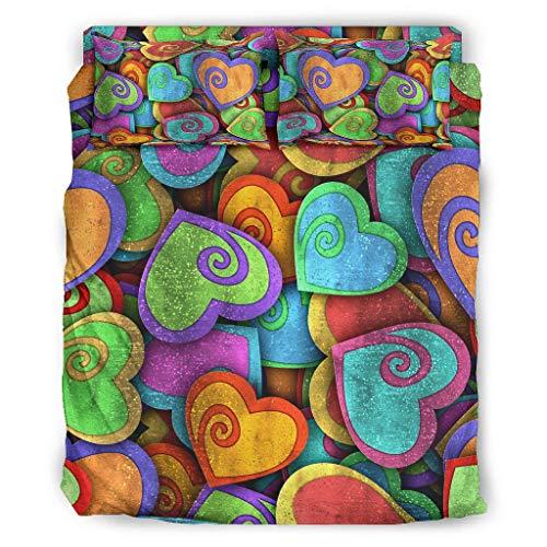 Xuanwuyi Regenbogen fein gedruckt Bettdecke Bettwäsche schmutzabweisendes 4-teiliges für Schlafzimmer White 175x218cm