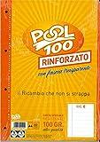 BLOCCO FOGLI A BUCHI RICAMBIO MAXI RINFORZATI RIGHE CON MARGINE 100 GR.