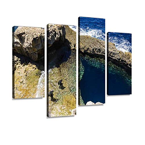 HIPOLOTUS 4 Panel Canvas Pictures Scuba Divers in Foreground of Azure Window in gozo, Malta divings Wall Art Prints Paintings Stretched & Framed Poster Home Living Room Decoration Ready to Hang