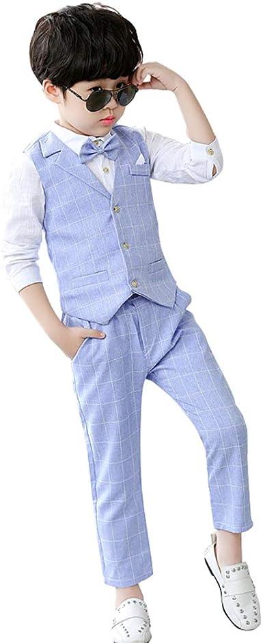 XFentech Conjunto de Niños - Clásico Bautizo Boda Fiesta Ceremonia para Bebés Niños Disfraces de Príncipe Chaleco con Pantalones Camiseta