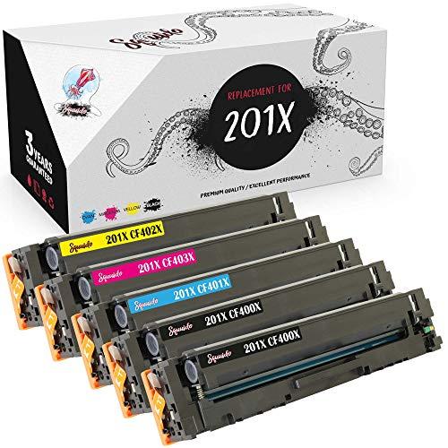 Squuido 5 Cartuchos de tóner 201X compatibles para HP Color Laserjet Pro MFP M277dw M277n M274n M252dw M252n   Alto Rendimiento 2800/2300 páginas