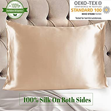 MYK 100% Pure Natural Mulberry Silk Pillowcase, 19 Momme Both Side for Hair & Facial Beauty, Queen Size 20 x30 , Champagne, 1pc