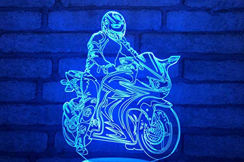 3D Children's Night Light, Motorcycle Rider Shape, 16-Color dimmable Toy lamp, USB Charging Desk lamp, Cracked Base