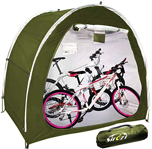 Bike Covers Storage Shed Tent, 210D Silver Coated Oxford Cloth Space Saving Bike Cover Shelter with Window Design, Outdoor Waterproof Portable Bicycle Motorcycle Storage Canopy Covers (Green)