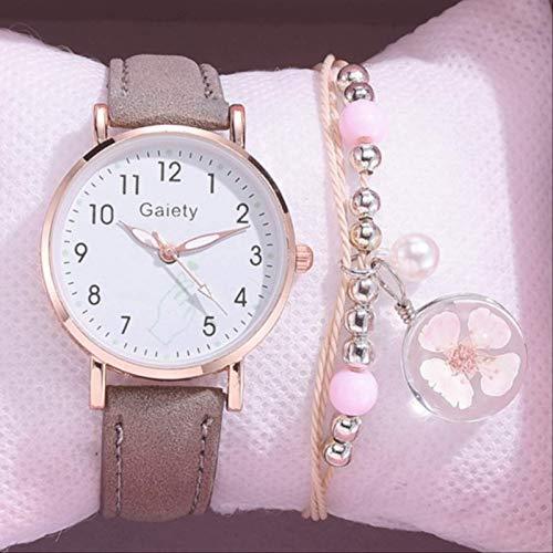 TIDRT Mode Kinder Set Armband Uhr Student Rosa Uhr Mädchen Lederarmband Kinder Digitale Quarzuhr Geschenk Uhr Lernen Einen Guten Begleiter Und Arrangieren Sie Ihre Studienzeit