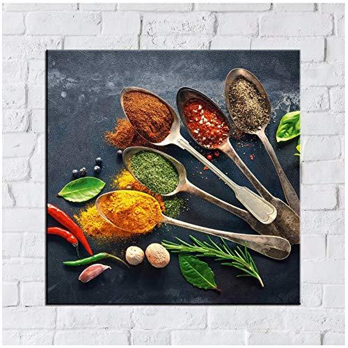 Jin Yi Global Muurkunst Canvas Schilderij Keuken Home Decor Lepel Korrel Kruiden Afbeeldingen gedrukt Chili Food Painting Print op canvas 50x50cm(19.7