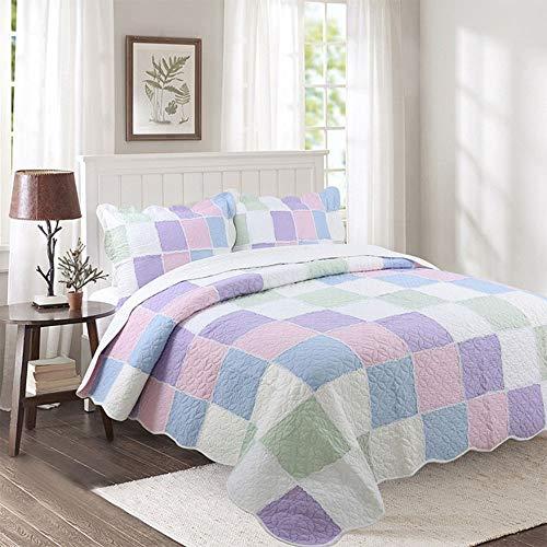 Mishuai Ensemble de taie d'oreiller couette de printemps et d'été cool, couverture de couleur unie élégante rétro été cool, respirant et confortable double cadeau climatisation maison cadeau 3 pièces