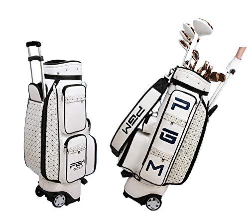 PGM Damen Golftasche mit Rollen und Handtasche aus PU-Leder, weiß
