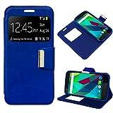 MB ACCESORIOS Funda Tapa Libro Azul para ZTE Blade A6/A6 Premium - Interior. Silicona