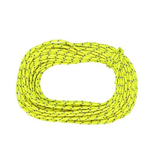 ABOOFAN 15. 24 metros al aire libre tienda de campaña cuerda reflectante poliéster engrosado 2. 5mm cuerda de viento hebilla toldo toldo tienda Windpro accesorios (verde)