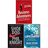 Business Adventures Twelve Classic Tales from the World of Wall Street, Shoe Dog A Memoir by the Creator of Nike, [Hardcover] The Upstarts 3 Books Collection Set