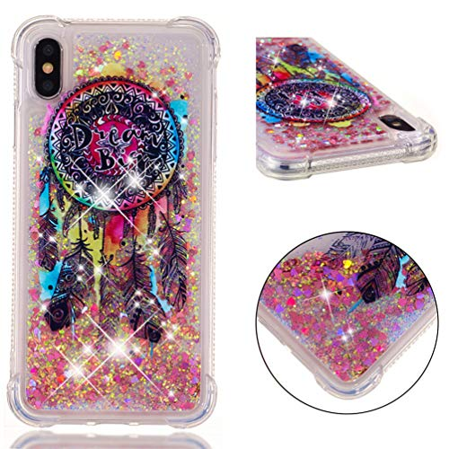 EMAXELER iPhone Xs Max Case iPhone Xs Max Cover 3D Creative Cartoon Pattern Anti-Fall Protection Flowing Quicksand Shiny Soft Case for iPhone Xs Max 6.5' TPU Color Dream Catcher