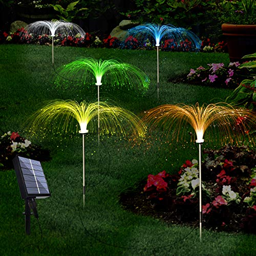 Upgraded Solar Garden Lights Outdoor, 7 Color Changing Solar Flowers Garden Lights, Waterproof Outdoor Decorative Solar Jellyfish Light for Yard Patio Garden Pathway Holiday Decorations(5PCS)