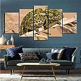 mmkow Cuadro en Lienzo 5 Piezas Set Animal camaleón Arte de la Vida Obra de Arte 50x100cm (Marco)