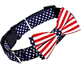 American Flag Bowtie Dog Collar in 3 Different Sizes (Large:Width 2.5cm, Adjustable 38-60cm)