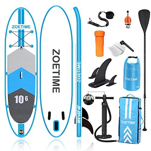 Zoetime Stand Up Board 320 x 81 x15 cm Tabla de Paddle Surf Sup Hinchable Ultraligero Carga hasta 150 Kg
